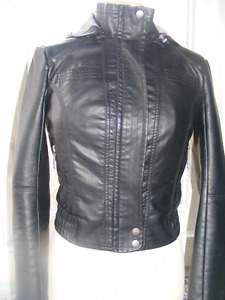 Guess Faux Leather Hooded Jacket OBO