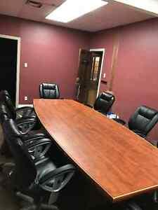 Board room table with 8 chairs and other office furniture