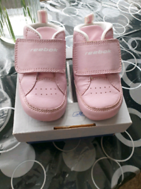 Reebok baby infant pink trainers New