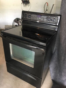 "SPARKLING WHIRLPOOL 30"" ELECTRIC BLACK CERAMIC TOP STOVE STEAM C"