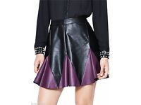 Purple and Black Leather Look Skirt