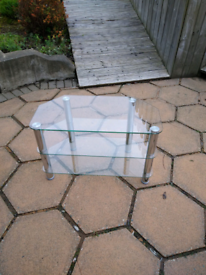 Clear glass TV stand (price reduced to clear)