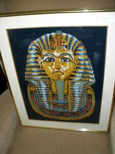 Beautifully framed Fabric Art King Tutankhaman