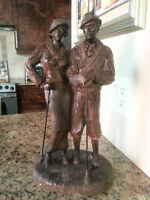 BEAUTIFUL BRONZE SOLID STATUE MAN and WOMEN  EXCELLENT CONDITIO