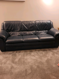 Navy leather 3 seater