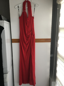 Red Marciano Over the Shoulder Evening Gown
