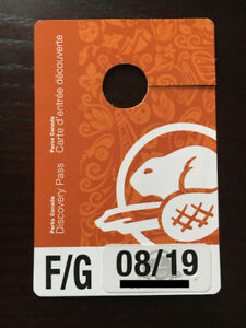 Parks Canada Discovery Pass Family/Group AUG 2019