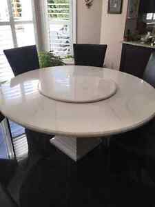 Italian cast marble dining table and 6 chairs