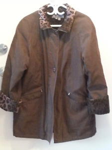 A PROPOS Spring/ Fall coat with leopard print size medium