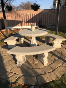 Outdoor Ceramic Table and Benches FOR SALE