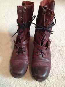 Genuine Leather Suede Combat Boots, size 9