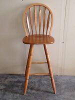 "Two 30"" custom made birch swivel bar stools"