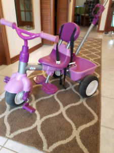 GIRLS LITTLE TIKES 4 IN 1  PUSH OR PULL PINK PURPLE PEDAL BIKE