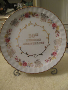 "ELEGANT OLD VINTAGE ""50th WEDDING ANNIVERSAY""  CHINA  PLATE"