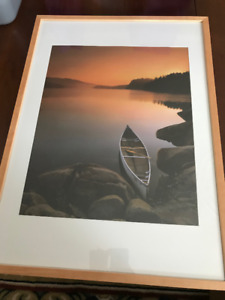 Canoe on the water print in frame