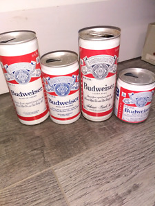 4 Budweiser beer cans.  All U.S.  vintage One steelie, crimped