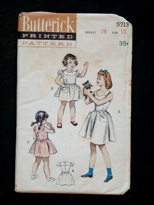 1950's Vintage BUTTERICK #5713 GIRLS YOKED DRESS Fashion PATTERN Sz10