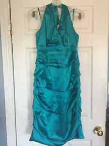 Le Chateau Aqua Blue Satin Halter Cocktail Dress-XL