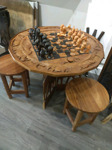 Unique hand carved African Chess Set