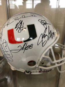 Miami Hurricanes Autographed Full Size Helmet Signed By Team 01