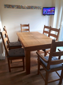Solid oak dining table and chairs 6-10 seater