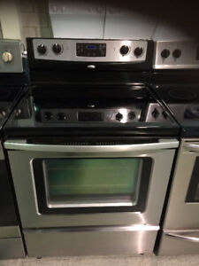 """STAINLESS STEEL SMOOTH TOP WHIRLPOOL STOVE 30"""" STAINLESS STOVE"""