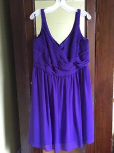 David's Bridal Regency Purple Bridesmaid Dress