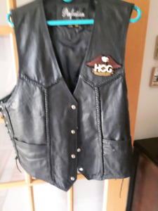 Leather motorcycle vest, ladies
