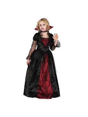 Child Deluxe Gothic Vampiress Girls Fancy Dress Kids Halloween Vampire Costume