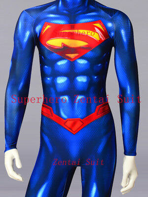 New 52 Costumes (New 52 Superman Costume Spandex 3D Shiny Superman Costumes Cosplay Zentai)