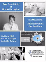 Mobile Medical Foot Care Clinic at Brockville Legion Friday June