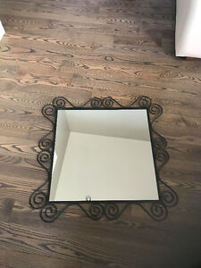 "Mirror - 29"" Square - Black Metal"