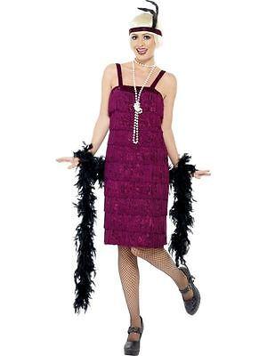 Jazz Flapper Kostüm, 20er Jahre Razzle Faschingskostüm, UK Gr. 20-22, - Lila Flapper Kostüm
