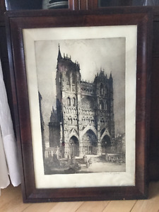 Etching by artist Andrew Affleck of cathedral