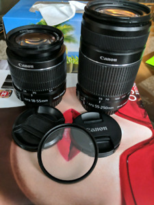 Perfect condition OEM Canon EFS 18-55mm and 55-250mm for sale