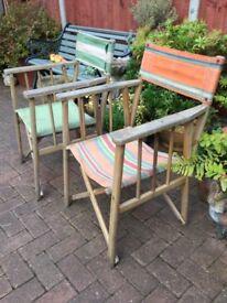 2 vintage 1950s garden deckchairs, Director style