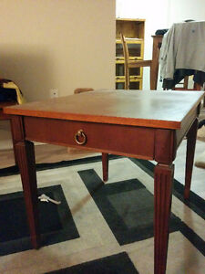 TWO WOODEN END TABLES