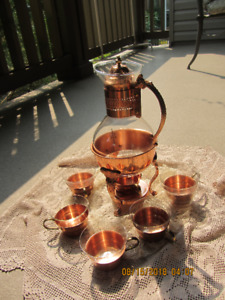 Copper Glass Carafe (Never used) just like new with 5 glasses wi
