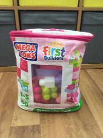 Mega Bloks Big Building Bag of 60 in Pink