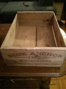 Blue Anchor Wooden Crate