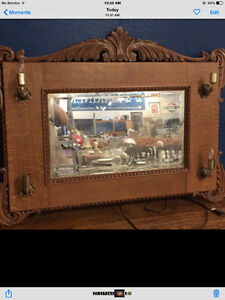 Lighted Oak Mirror