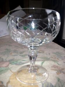 Cut Crystal Wine & Dessert Glasses, Vintage Set