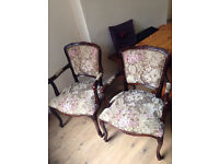2x dark mahogany, classical, embroidered arm chairs