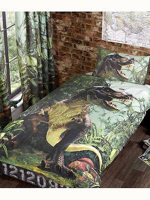 Bettwäsche Dinosaurier T.Rex Kinder Jungen 135X200/50x75cm Dino Bettgarnitur