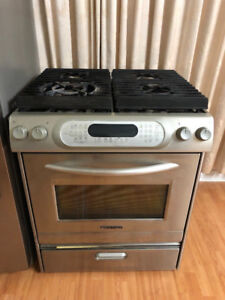 "Kitchen side in 30"" gas stove range convection fan oven"