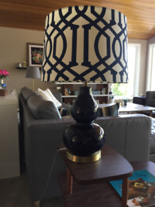 Navy and Brass lamp with extra shade