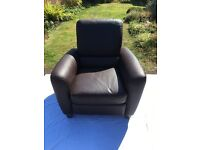 Leather reclining chair dark brown