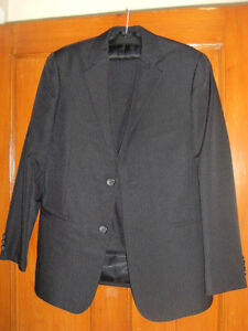 BOYS 2-PIECE SUIT - BLACK PIN STRIPE - SIZE 16