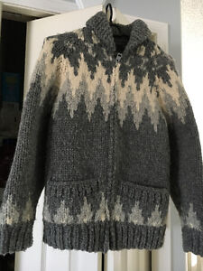 Cowichan style wool sweater/jacket Size small