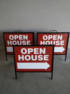 *** Metal Open House A-frame Signs (3 of them) with Inserts ***